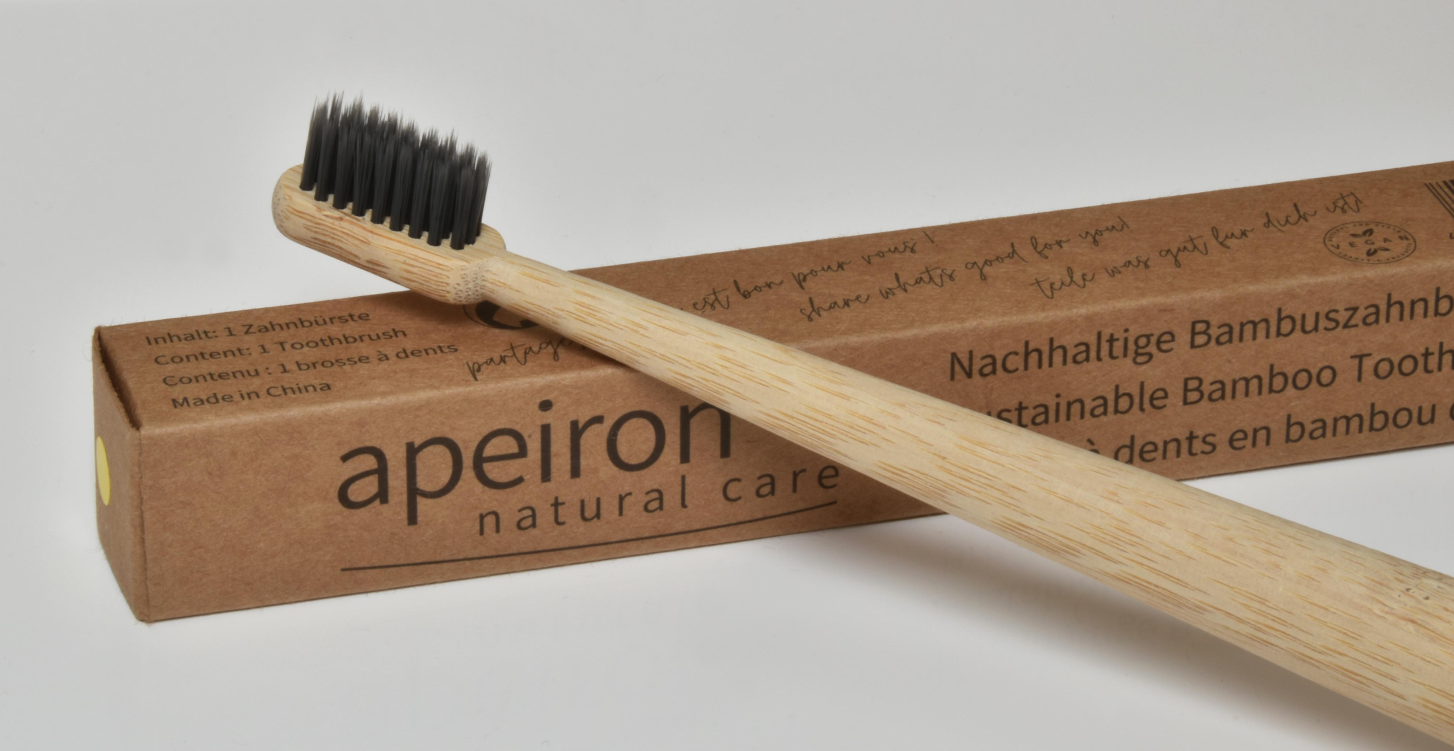 Bambus-Zahnbürste, natur - farbig markiert