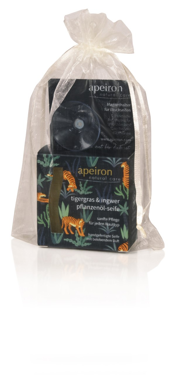 Geschenkset Pflanzenölseife Tigergras & Ingwer mit Seifenhalter